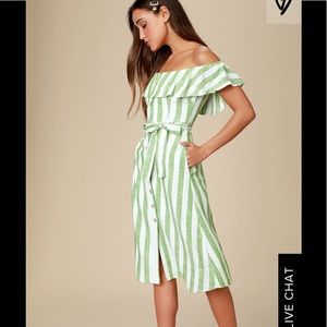 Lulu's Sunny Days Green Striped Midi Dress